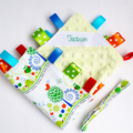 LITTLE BABY ANIMAL FRIENDS ~ GREEN  ~  Baby Security Taggie  + FREE Taggie Saver