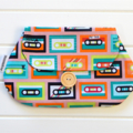 Clutch Purse Pouch Make up Case in Retro Fabric with Cassette Tapes