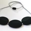 Silicone Teething Necklace - Flat Rocks- Black