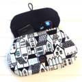 Clutch Purse Pouch Make up Case in Retro Fabric with Houses Buildings