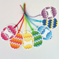 Easter Egg gift tags. Rainbow chevron design with ribbons and bows. Easter gifts