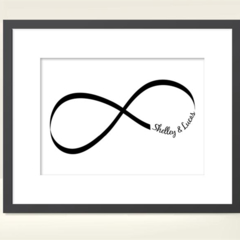 personalised Infinity Love print for Valentines day or any day, 5x7 PRINT