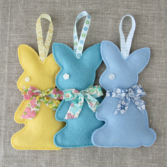 Value pack of 3, any colour, Lavender bunny, sachet, rabbit, felt, Liberty bow