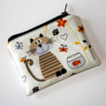 Mini Coin Purse with a Cute Cat and Goldfish Design