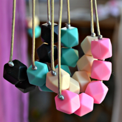 Silicone Teething Necklace- Geo Block