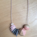 Hand made wooden & clay necklace