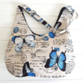 Butterfly Hobo Bag in Black and Blue for Ladies