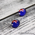 Australia Day - Australian Flag Glass Button - Stud Earrings