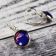 Australia Day - Australian Flag Glass Button - Drop / Loop /Dangle Earrings