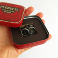 Typewriter-key cufflinks in a vintage tin - black '1' and '8' keys, happy 18th
