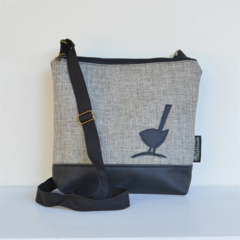 The 'Jodi' bag Large, Beige fabric with black upholstery vinyl and bird motif.