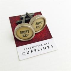 Typewriter-key cufflinks - circular ivory SHIFT KEY keys
