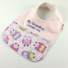 Baby Bib My Grandma Loves Me, Owl Cotton Fabric, Bamboo Toweling, Snap fastened.