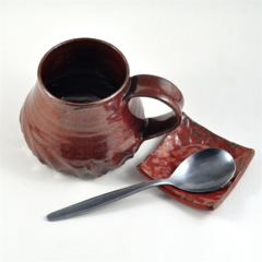 Coffee Cup & Spoon Rest Ceramic Handmade Pottery Red Brown Hostess Gift