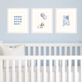 Set of 3 Navy Blue Prints for Baby Boy Nursery