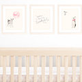 Set of 3 A4 Prints for Baby Girl Nursery, Pink Shabby Chic Decor