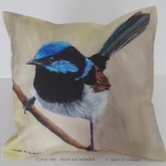 Cushion Cover, Blue Wren, Australian Bird Wildlife, Art, Throw Pillow Decorative
