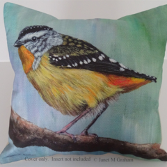 Cushion Cover, Spotted Pardalote, Bird, Wildlife, Art, Throw Pillow, Decorative