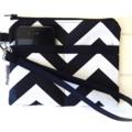 Black and White Chevron Fabric Wristlet Pouch Purse