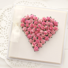 Handmade Paper Roses Heart Keepsake Card, Gift Boxed, For Her Card, Birthday