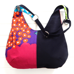 Hobo Bag Purse in colourful Wild Bird Echino and Black Fabric