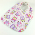Baby Bib, Pink Owl Cotton Fabric, Bamboo Toweling, Snap Fastened.