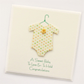 baby boy or girl card baby suit yellow and green spots