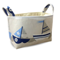 Fabric Storage Organiser Bin Basket - Nautical Sailing Boat
