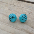 Burst of Colour Turquoise Streaky Fused Glass Earrings