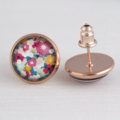 Floral Rose Gold Stud Earrings