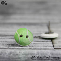 Tennis Ball - Buttons - Button Stud Earrings - green and white