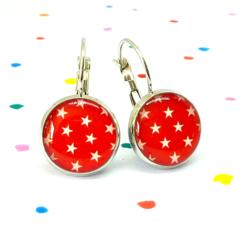 Leverback earrings - White stars on red - Resin