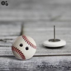 Baseball Softball - Buttons - Button Stud Earrings - Red Grey and white