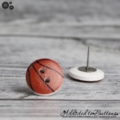 Basketball - Buttons - Button Stud Earrings - Orange/brownand white