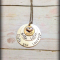 Hand Stamped Personalised Sterling Silver Soldered Layered Heart Necklace