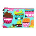Blue Sugar Cupcake Zip Pouch / Zippered Case / Zipper Bag
