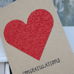 Red Heart Greeting Card Wedding Card Congratulations Card Anniversary Card