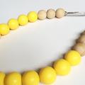 Washable Silicone & Natural Wood Necklace - Lemon