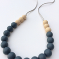 Washable Silicone & Natural Wood Necklace - Slate