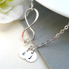 Personalized Infinity Necklace With Two Initials  Sterling Silver
