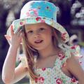 Girls sun hats - wide brim with Kanzashi Flower Brooch