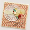 MUM Mother's Day card bird and vintage floral paper heart and doily