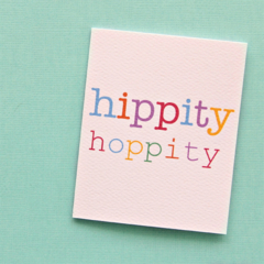 5 Easter Hippity Hoppity Mini Cards, Gift Tags - Use to Gift Wrap