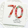 70th Personalised card happy birthday watercolour