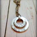 Personalised Hand Stamped Double Family Circle Pendant