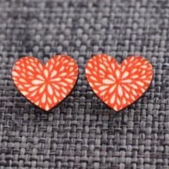 Ruby Hearts ~Wooden Stud Earrings