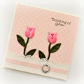 Thinking of You card pink tulips floral Sympathy Get Well Soon Hello Friend