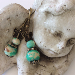 Green drop earring earrings wooden beads bronze butterfly