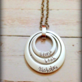 Personalised Hand Stamped Triple Family Pendant