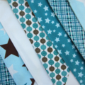 *SOLD* All Star Fabric Bunting - Boys - Blue, Aqua, White and Brown - 3m